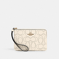 CORNER ZIP WRISTLET IN SIGNATURE LEATHER - 2961 - IM/CHALK