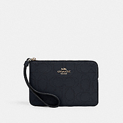 CORNER ZIP WRISTLET IN SIGNATURE LEATHER - 2961 - IM/MIDNIGHT
