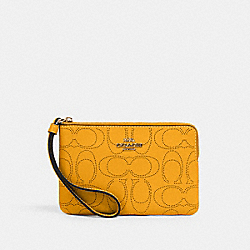 COACH 2961 Corner Zip Wristlet In Signature Leather IM/HONEY