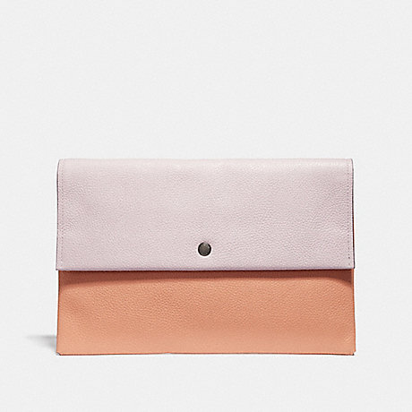 COACH 29664 LARGE ENVELOPE POUCH IN COLORBLOCK SILVER/ICE-PINK-MULTI
