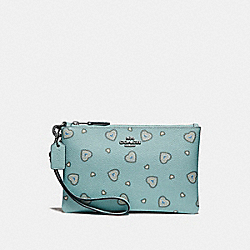 COACH 29667 - SMALL WRISTLET WITH WESTERN HEART PRINT SILVER/LIGHT TURQUOISE WESTERN HEART