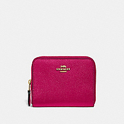 COACH 29677 Small Zip Around Wallet BRIGHT CHERRY/GOLD