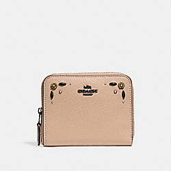 COACH 29689 Small Zip Around Wallet With Prairie Rivets Detail DK/BEECHWOOD