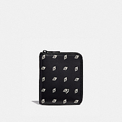 COACH 29695 - SMALL ZIP AROUND WALLET WITH DOT DIAMOND PRINT BLACK/CHALK
