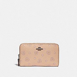 COACH 29739 Medium Zip Around Wallet With Western Heart Print DK/BEECHWOOD WESTERN HEART