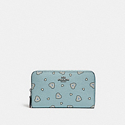 MEDIUM ZIP AROUND WALLET WITH WESTERN HEART PRINT - SV/LIGHT TURQ WESTERN HEART - COACH 29739