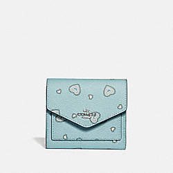 COACH 29740 Small Wallet With Western Heart Print LIGHT TURQUOISE WESTERN HEART/SILVER