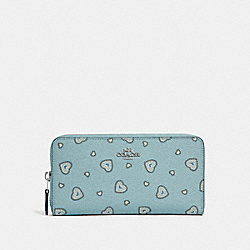 COACH 29743 Accordion Zip Wallet With Western Heart Print SILVER/LIGHT TURQUOISE WESTERN HEART