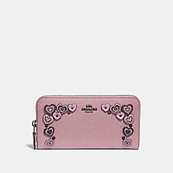COACH 29746 - ACCORDION ZIP WALLET WITH HEARTS BP/DUSTY ROSE