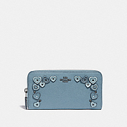 ACCORDION ZIP WALLET WITH HEARTS - 29746 - CHAMBRAY