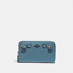 MEDIUM ZIP AROUND WALLET WITH HEARTS - 29748 - CHAMBRAY/DARK GUNMETAL