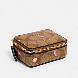 COACH 2975 Triple Pill Box In Signature Canvas With Butterfly Print IM/KHAKI PINK MULTI