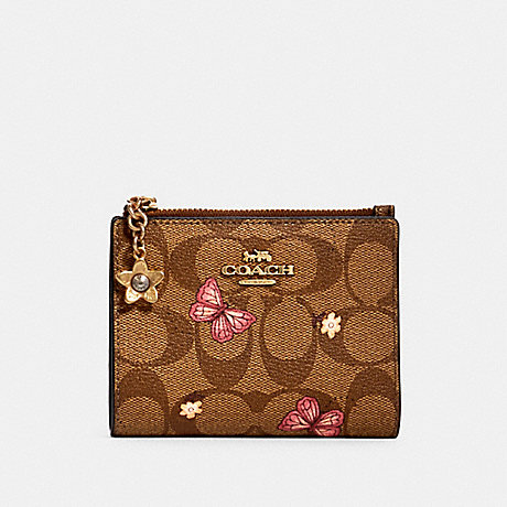COACH 2978 SNAP CARD CASE IN SIGNATURE CANVAS WITH BUTTERFLY PRINT IM/KHAKI-PINK-MULTI