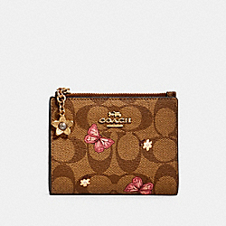 COACH 2978 Snap Card Case In Signature Canvas With Butterfly Print IM/KHAKI PINK MULTI