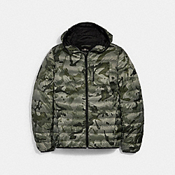 COACH 2993 Packable Hooded Down Jacket OLIVE INK CAMO