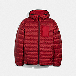 PACKABLE HOODED DOWN JACKET - 2993 - CHERRY SIGNATURE