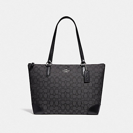 COACH 29958 ZIP TOP TOTE IN SIGNATURE JACQUARD SV/BLACK SMOKE/BLACK