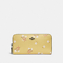 COACH 29969 Accordion Zip Wallet With Floral Bow Print DK/SUNFLOWER FLORAL BOW