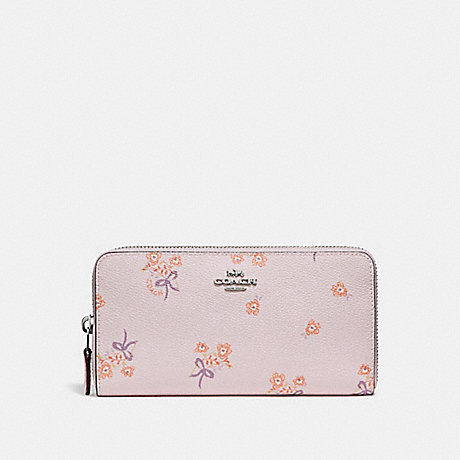 COACH ACCORDION ZIP WALLET WITH FLORAL BOW PRINT - ICE PINK FLORAL BOW/SILVER - 29969