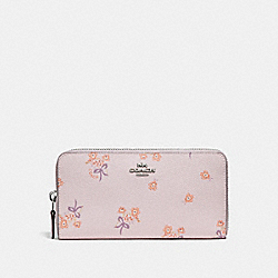ACCORDION ZIP WALLET WITH FLORAL BOW PRINT - 29969 - ICE PINK FLORAL BOW/SILVER
