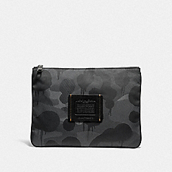 COACH 29976 - LARGE MULTIFUNCTIONAL POUCH WITH WILD BEAST PRINT CHARCOAL