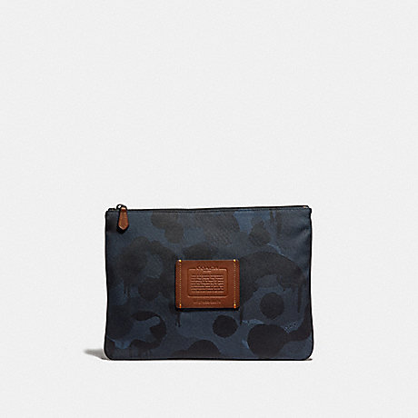 COACH 29976 LARGE MULTIFUNCTIONAL POUCH WITH WILD BEAST PRINT DENIM