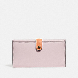 COACH 29978 - SLIM TRIFOLD WALLET IN COLORBLOCK ICE PINK MULTI/BLACK COPPER