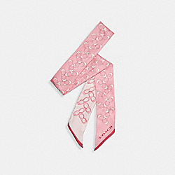 COACH 30068 - SIGNATURE SILK SKINNY SCARF BUBBLEGUM