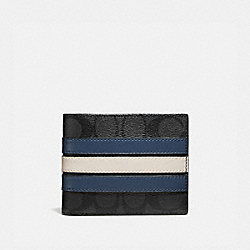 3-IN-1 WALLET IN SIGNATURE CANVAS WITH VARSITY STRIPE - 3008 - QB/CHARCOAL/DENIM/CHALK