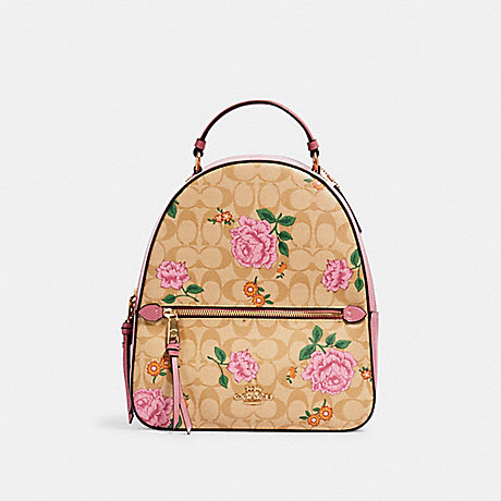 COACH 3011 JORDYN BACKPACK IN SIGNATURE CANVAS WITH PRAIRIE ROSE PRINT IM/LIGHT-KHAKI-PINK-PINK-MULTI