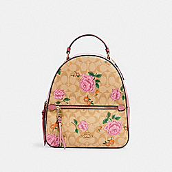 JORDYN BACKPACK IN SIGNATURE CANVAS WITH PRAIRIE ROSE PRINT - 3011 - IM/LIGHT KHAKI PINK PINK MULTI