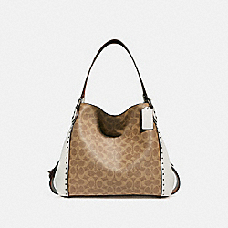COACH 30220 Edie Shoulder Bag 31 In Signature Canvas With Rivets BP/CHALK