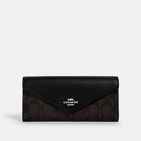 COACH 3034 SLIM ENVELOPE WALLET IN SIGNATURE CANVAS IM/BROWN BLACK