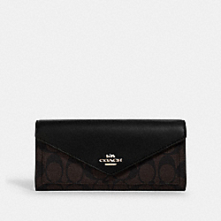 COACH 3034 - SLIM ENVELOPE WALLET IN SIGNATURE CANVAS IM/BROWN BLACK