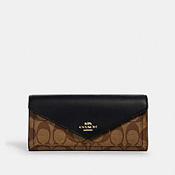 COACH 3034 - SLIM ENVELOPE WALLET IN SIGNATURE CANVAS IM/KHAKI/BLACK