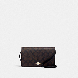 COACH 3036 Anna Foldover Crossbody Clutch In Signature Canvas IM/BROWN BLACK