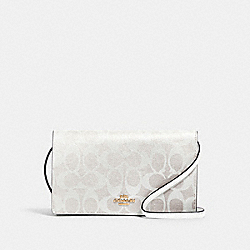 ANNA FOLDOVER CROSSBODY CLUTCH IN SIGNATURE CANVAS - 3036 - IM/CHALK/GLACIERWHITE
