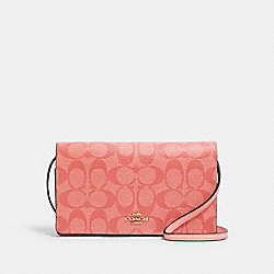 COACH 3036 - ANNA FOLDOVER CROSSBODY CLUTCH IN SIGNATURE CANVAS IM/CANDY PINK