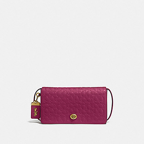 COACH 30427 DINKY IN SIGNATURE LEATHER BRIGHT-CHERRY/BRASS
