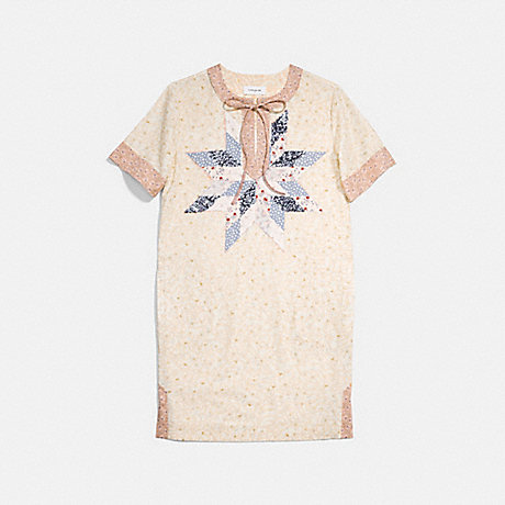 COACH 30496 COACH X KEITH HARING QUILTED PATCHWORK T-SHIRT DRESS IVORY