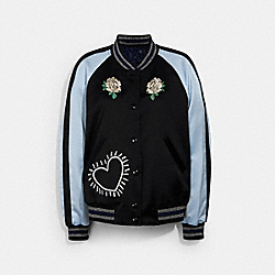 COACH X KEITH HARING REVERSIBLE SATIN JACKET - 30499 - BLACK/BLACK