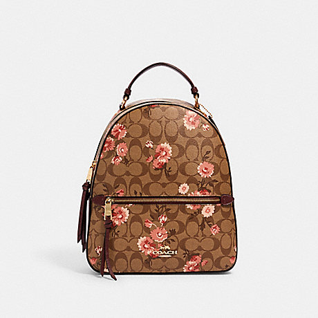 COACH 3054 JORDYN BACKPACK IN SIGNATURE CANVAS WITH PRAIRIE DAISY CLUSTER PRINT IM/KHAKI-CORAL-MULTI