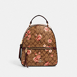 JORDYN BACKPACK IN SIGNATURE CANVAS WITH PRAIRIE DAISY CLUSTER PRINT - 3054 - IM/KHAKI CORAL MULTI