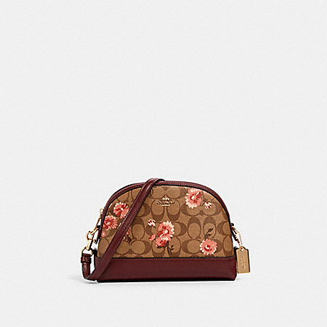 COACH 3055 DOME CROSSBODY IN SIGNATURE CANVAS WITH PRAIRIE DAISY CLUSTER PRINT IM/KHAKI-CORAL-MULTI