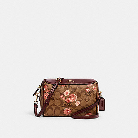 COACH 3056 BENNETT CROSSBODY IN SIGNATURE CANVAS WITH PRAIRIE DAISY CLUSTER PRINT IM/KHAKI-CORAL-MULTI