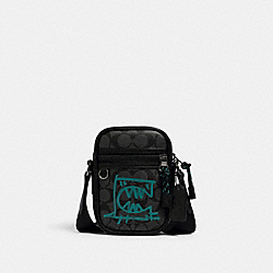 TERRAIN CROSSBODY IN SIGNATURE CANVAS WITH REXY BY GUANG YU - 3065 - QB/GRAPHITE BLUE GREEN