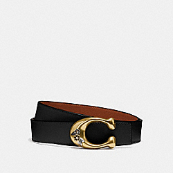 COACH 30921 - TEA ROSE SIGNATURE BUCKLE REVERSIBLE BELT, 32MM BLACK/1941 SADDLE