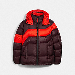 HOODED DOWN JACKET - 3094 - BURGUNDY