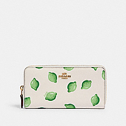 ACCORDION ZIP WALLET WITH LIME PRINT - 3112 - IM/CHALK GREEN MULTI
