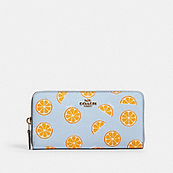 COACH 3113 - ACCORDION ZIP WALLET WITH ORANGE PRINT IM/ORANGE/BLUE